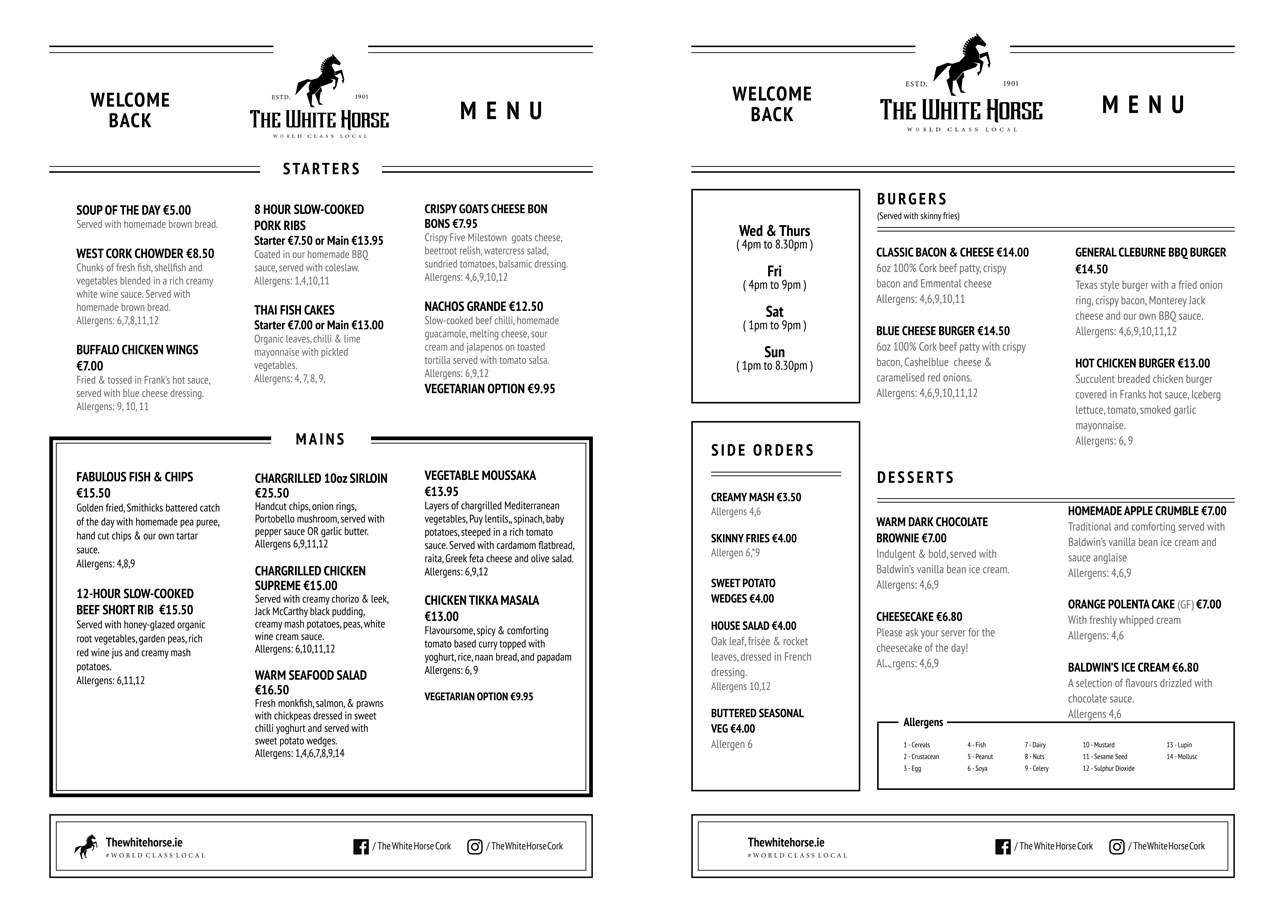 A La Carte Menu White Horse